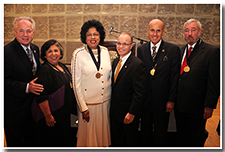 President William A. Covino poses with honored alumni who have served in local politics (l-r): L.A. City Counilman Tom LaBonge, L.A. County Supervisor Gloria Molina, the Hon. Diane Watson, Covino, former L.A. County sheriff Lee Baca, and former L.A. County district attorney Steve Cooley.