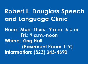 Information box takes readers to the webpage for the Speech and Language Clinic