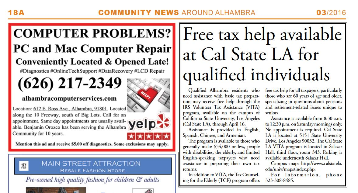 2)  Free tax help available at Cal State LA for qualified invididuals dc357b598