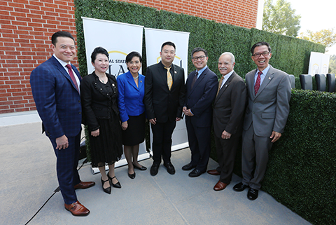 Dignitaries at the College of Health and Human Services dedication ceremony at Cal State LA.