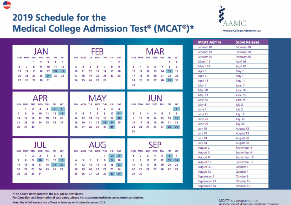 MCAT Test Dates for 2019
