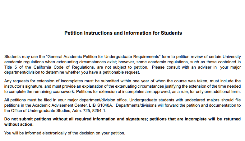 Petition Instructions and Information for Students