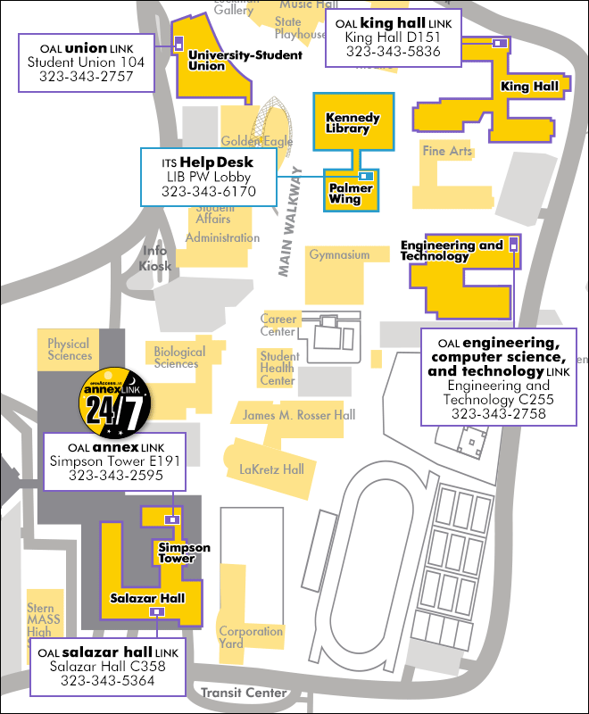 Campus Map with Open Access Lab Locations | Cal State LA