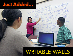 Students using writable walls