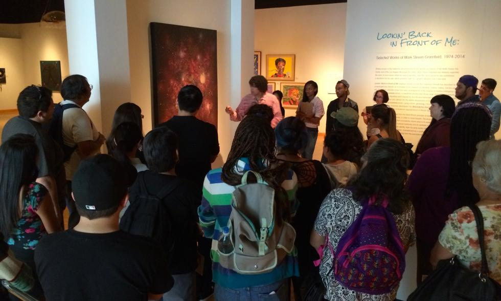 Mark Greenfield with students in his Solo Exhibition at the California African American Museum