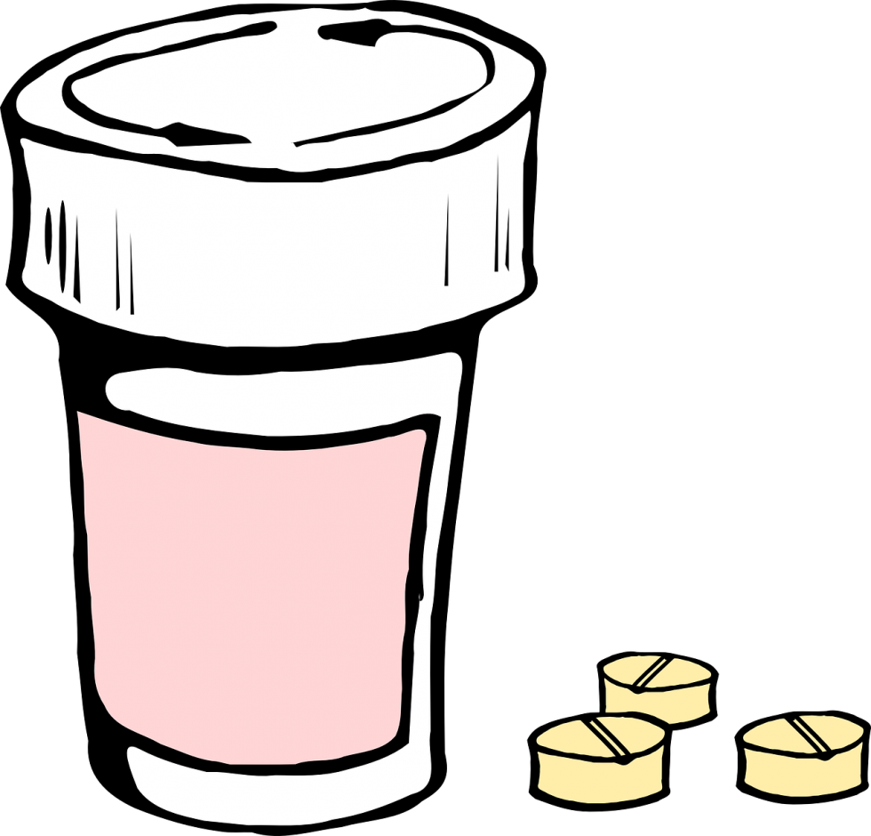 Cartoon of a prescription pill bottle next to 3 pills