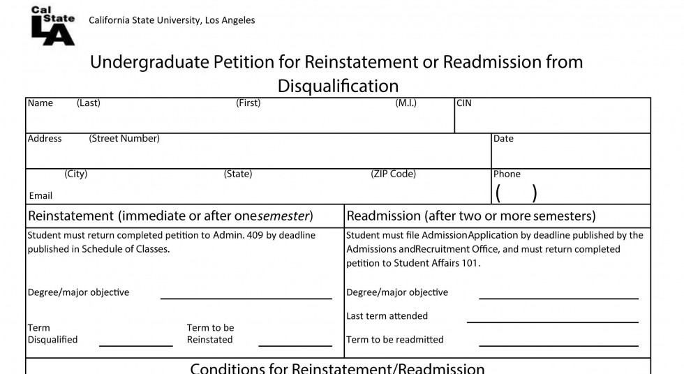 Undergraduate Petition for reinstatement or readmission