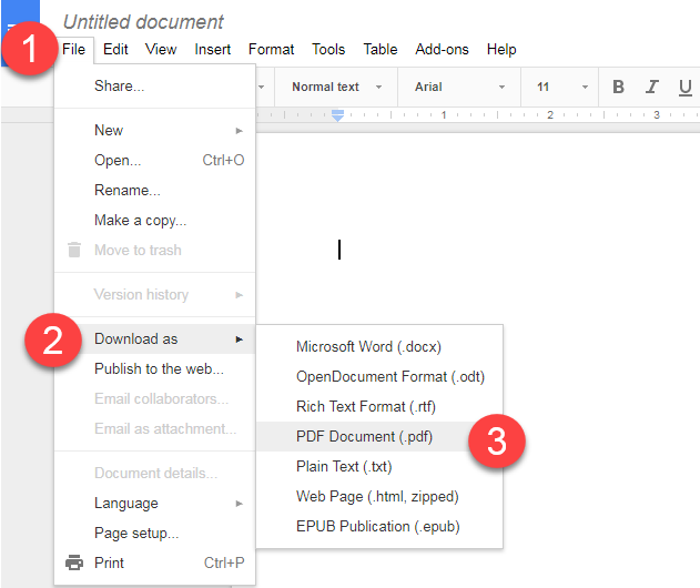 google docs to pdf