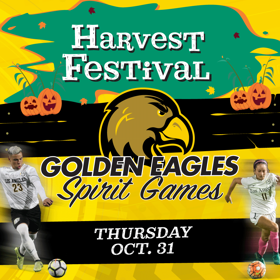 "The words ""harvest festival"" is accompanied by jack-o-lanterns and a bench on the top of the graphic. On the bottom appears ""Golden Eagles Spirit Games. Thursday Oct. 31"" along with the Golden Eagles logo and two soccer players."