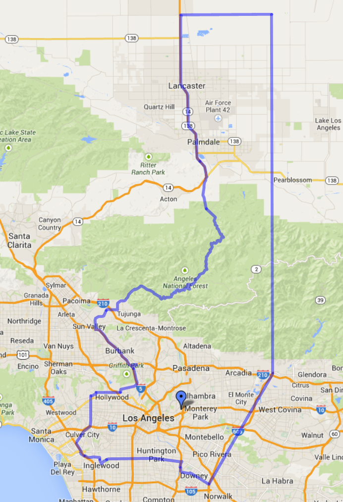 Map of Cal State L.A.'s Local Service area outlined