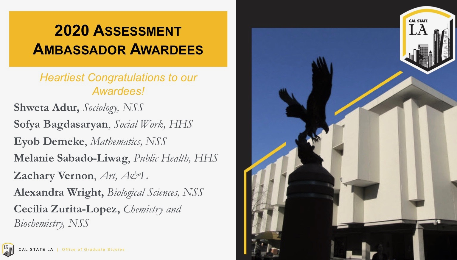 2020 Assessment Ambassador Awardees