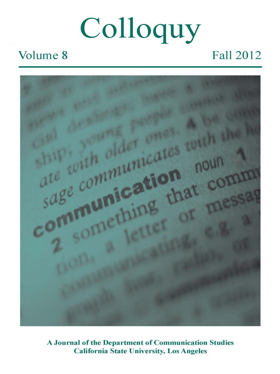 Link to 2012 issue of Colloquy