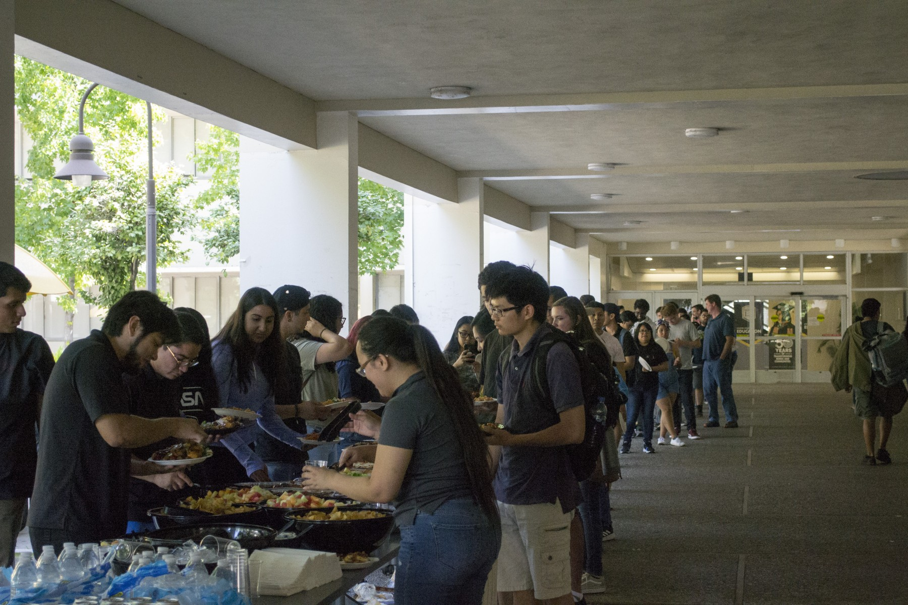 DIRECT-STEM students lined up for lunch at our kick-off event