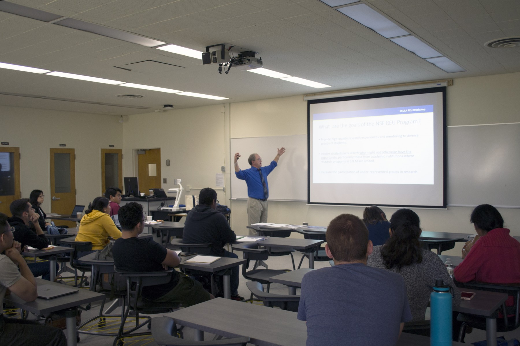 Dr. Frank Marsik from the University of Michigan leading a research experiences for undergraduates (REU) application workshop