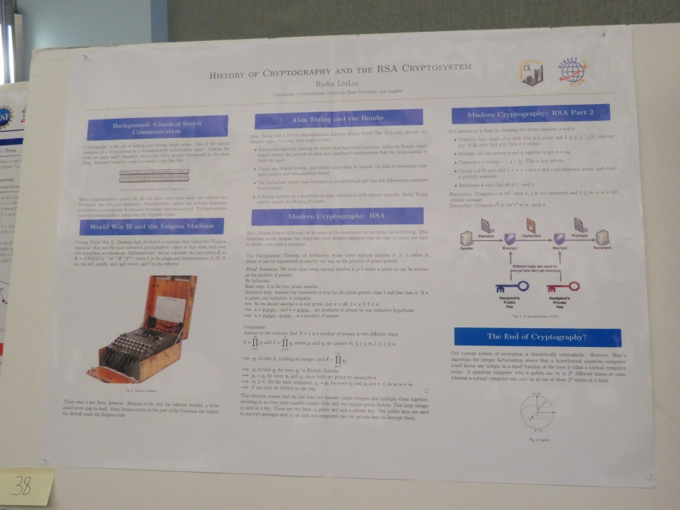 """Ryder LiuLin, CSULA: """"History of Cryptography and the RSA Cryptosystem"""""""