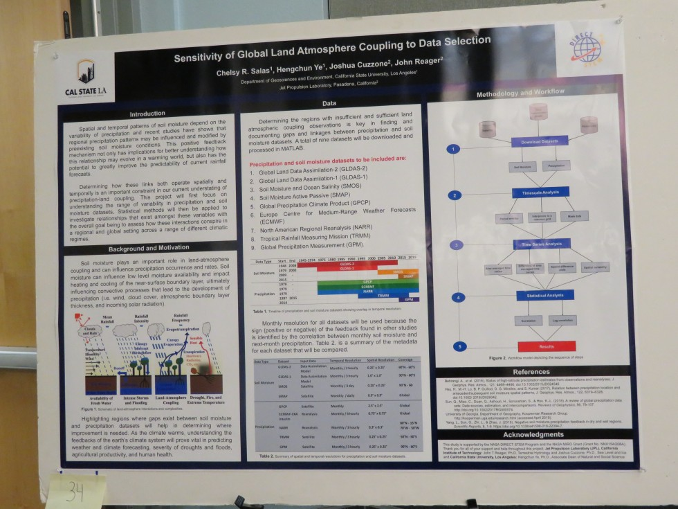 """Chelsy Salas, CSULA: """"Sensitivity of Global Land Atmosphere Coupling to Data Selection"""""""