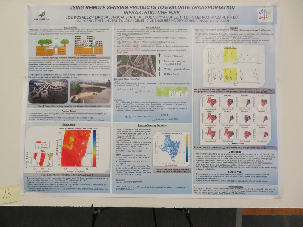 "Joe Rosalez, CSULA: ""Using remote sensing products to evaluate transportation infrastructure risk"""