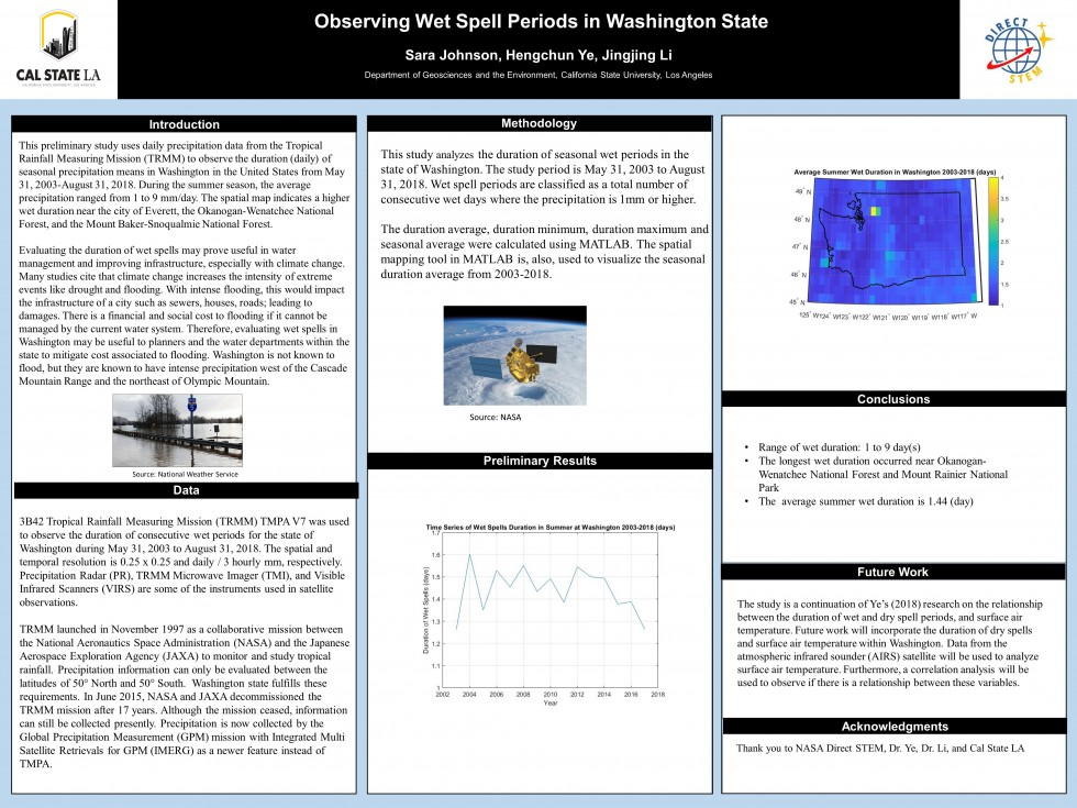 "Sara Johnson, CSULA: ""Observing Wet Spell  Periods in Washington State"""