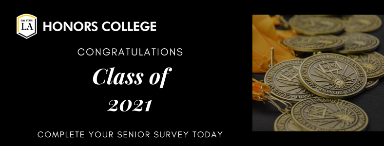 Class of 2021 banner for senior survey reminder