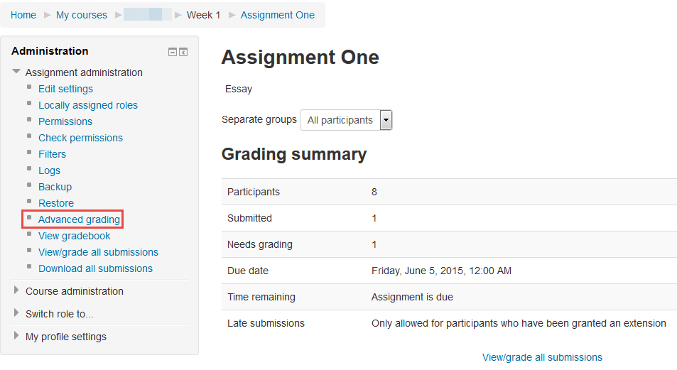 Advanced Grading options for an Assignment
