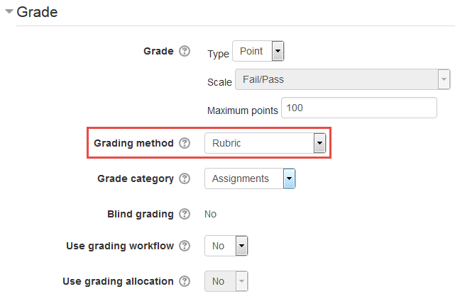 Enabling a Rubric for an Assignment