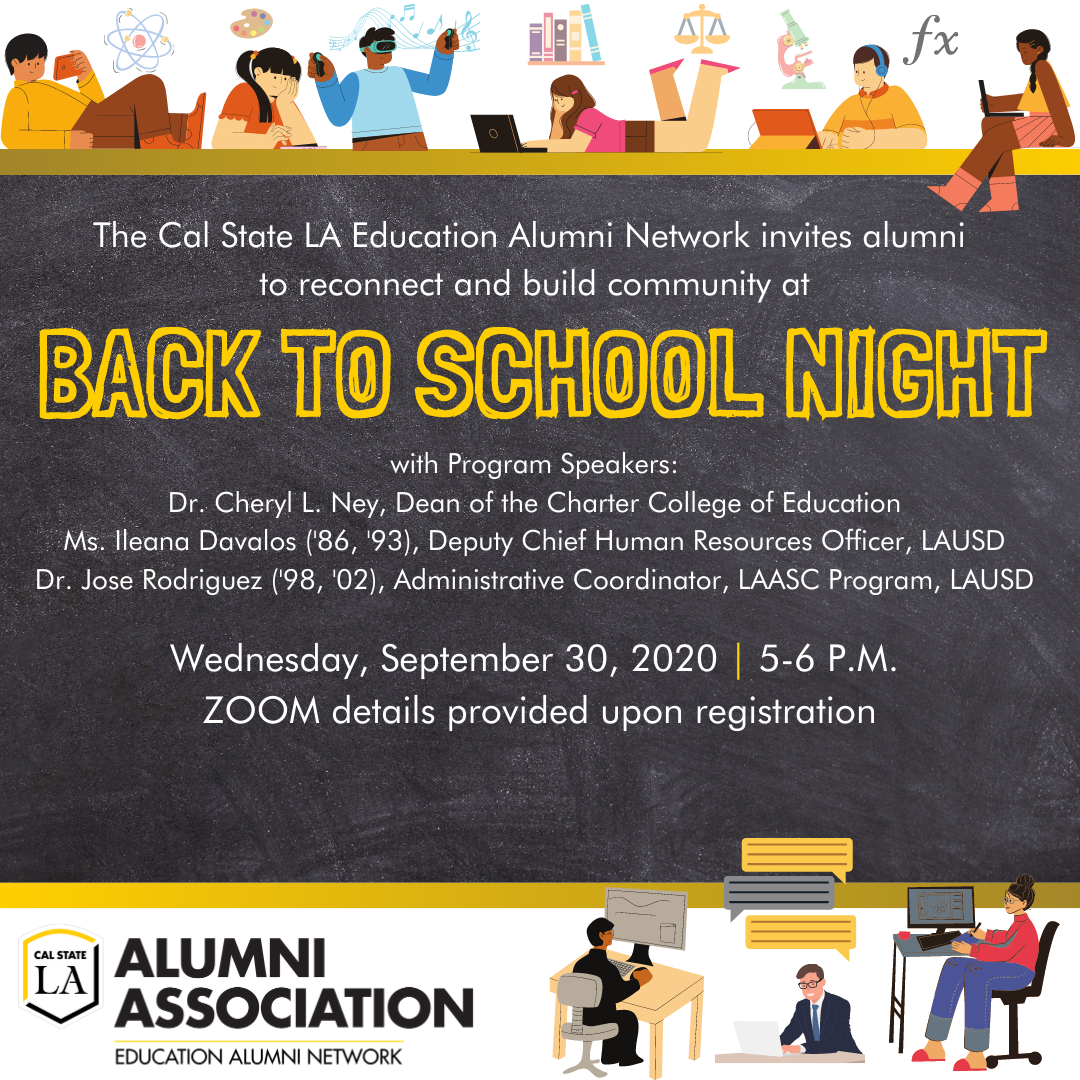 Education Alumni Network - Back to School Night - Wednesday, September 17, 2020 @ 5 PM