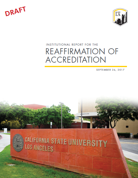Cover page of Institutional Report for university accreditation