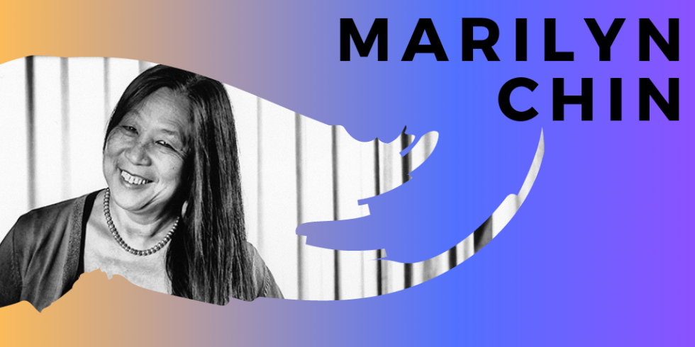 Marilyn Chin event announcement banner, candid photo of Marulyn
