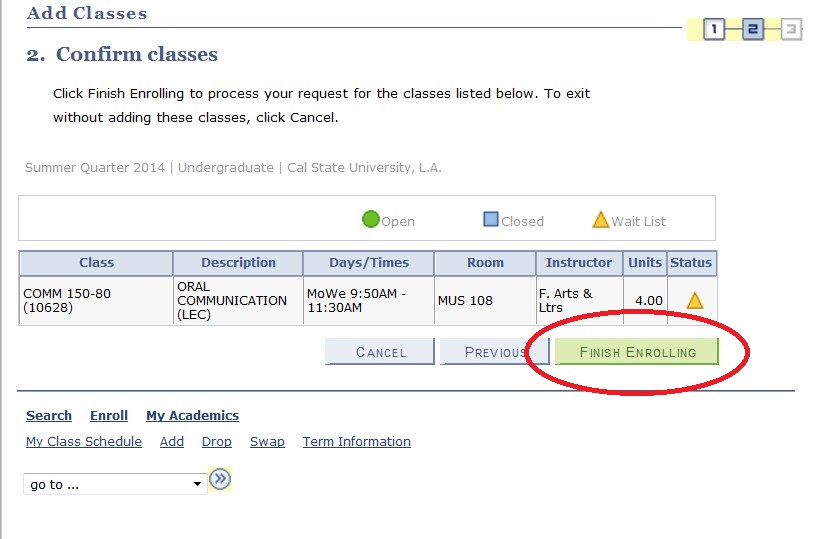 Screenshot showing Finish Enrolling button