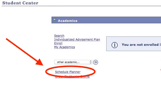 Student Center page with with highlights showing the link to Schedule Planner