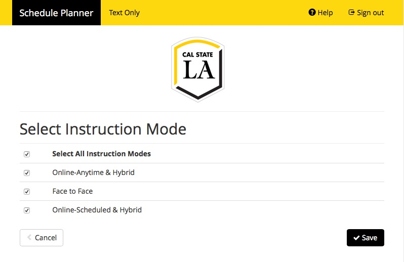 Screenshot of Schedule Planner with header Select Instruction Mode.  This shows options for how classes are taught, including Selecting All Instruction Modes, Online-Anytime and Hybrid, Face to Face, and Online-Scheduled and Hybrid