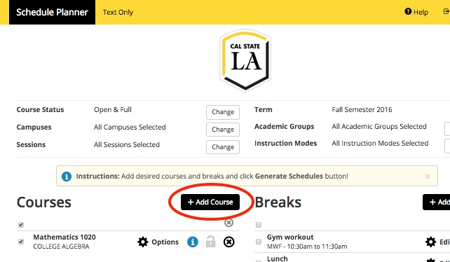 Screenshot of Schedule Planner with header Add Course.  This shows a course selected and highlights the Add Course button