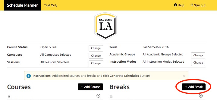 Screenshot of Schedule Planner > Breaks