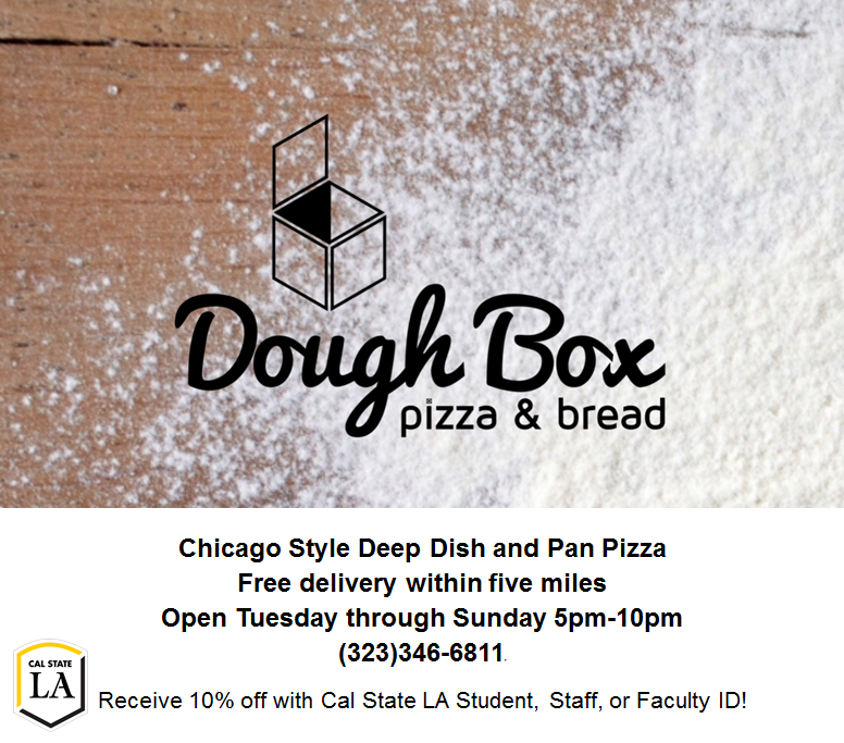 Doughbox Pizza 10% off for Cal State LA I.D.